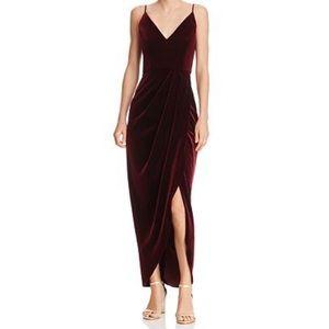 AQUA Velvet Faux-Wrap Dress - Burgundy